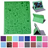 Global Go®Cute Cartoon Leather Folding Case Cover & Stand for Apple iPad 1 (green)