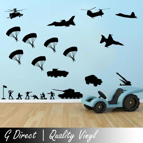 Army Military Scene Wall Sticker For Boys Bedroom Playroom Vinyl Decal Transfer 100X55 front-193315