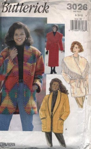 Butterick Sewing Pattern 3026 ~ Misses' Coat And Jacket ~ Sizes 8-10-12 front-335322