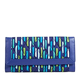 Vera Bradley Women\'s Trifold Wallet Katalina Showers/Navy Clutch