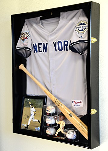 Extra Deep Jacket, Uniform, Jersey Shadow Box Display Case Cabinet w/ UV Protection, Black (Extra Large Display Case compare prices)