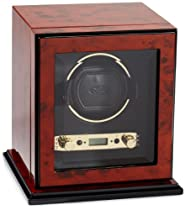 Wolf Designs 457410 Module 2.7 Burlwood Single Watch Winder with Cover