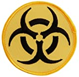 Biohazard Symbol Embroidered Patch Iron-On Danger Symbol Yellow-on-Black Logo, Bags Central