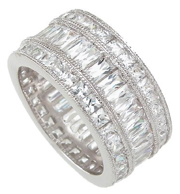 White Gold Rhodium Sterling Silver Diamond Cz Triple Eternity Ring (9)