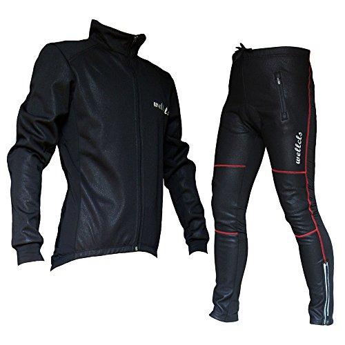 Wellcls 冬用サイクルジャケット 上下セット 防風 ウインドブレーク 自転車 サイクリング (黒×赤, XL)