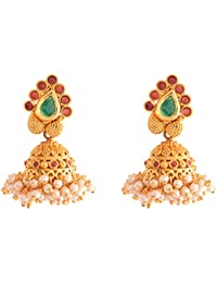 Ganapathy Gems 1Gram Gold Plated Jhumki With Pearl Drops (8566)