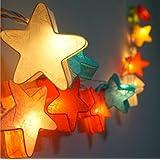 10 tlg lichterkette stoffball laterne led lampions mit batterie elektrisch kabellos innen - Lampions kinderzimmer ...