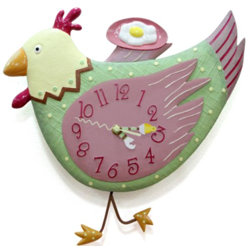 """【縁起の良い】にわとり 壁掛け時計  「とり」は""""幸せをとりこむ"""" 縁起物"""
