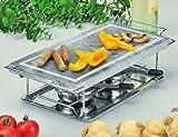 Gourmet-Grill 66510 - Plancha para cocinar a la piedra, calienta platos, con armazón y hornillos (32 x 19 cm)