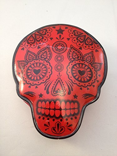 Skull Shaped Box - Lacquered Magnetic Closure Keepsake Box - Red - 1