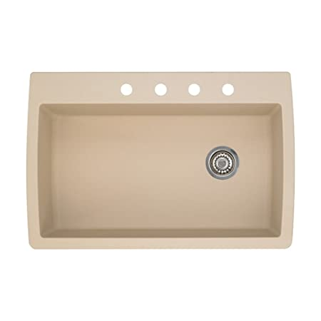 Blanco 441214-4 Diamond 4-Hole Single-Basin Drop-In Granite Kitchen Sink, Biscotti