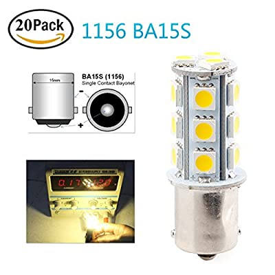 EverBright 20-Pack Warm White 1156 BA15S 1141 1073 1095 1003 7506 Base 18 SMD 5050 LED Replacement Bulb For Interior RV Camper Car Turn Tail Signal Bulb (DC-12V)