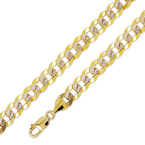 10k Solid Yellow White 2 Two Tone Gold Flat Curb