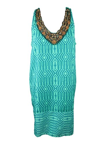 Collective Concepts Womens Green Kaleidoscope Bead Scoop Shift Dress L