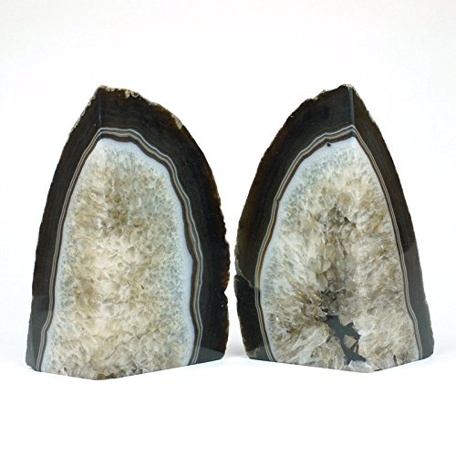 JIC Gem: Polished Dyed Black Agate Bookend(s) - 1 Pair - 2 to 3 Lbs