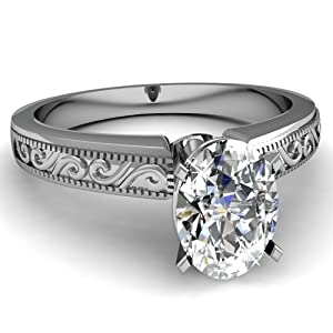 0.30 Ct Oval Shaped VS1-D Diamond Solitaire Hand Engraved Engagement Ring GIA 14K