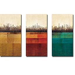 Metropolitan Jewel-Box Topaz, Rudy, & Emerald by Amori 3-pc Premium Gallery-Wrapped Canvas Giclee Art Set (Ready-to-Hang)