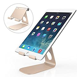 MoKo Tablet Stand, Universal 210 Degree Rotatable Aluminum Alloy Smartphone Tablet Desktop Holder Cradle for iPad Air / Air 2 / mini 4, iPhone SE/6s/6s Plus, Samsung Galaxy S7 / S7 Edge, Rose Gold