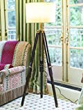 TRIPOD FLOOR LAMP STAND ANTIQUE FINISH WITH SHADE AND BULB.