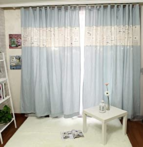 Fadfay Home Textile Blue Stripes Fancy Curtains For Kids Modern Living Room