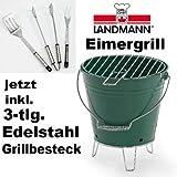 Landmann Eimergrill - grün - für Strand und Camping - verchromter Grillrost inkl. 3-tlg. Edelstahl Grillbesteck