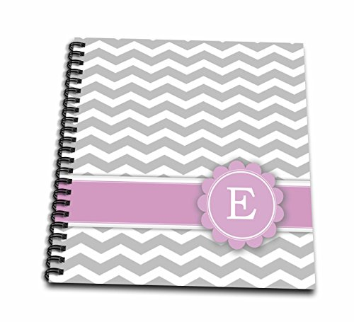 3dRose db_154250_1 Letter E Monogrammed on Grey and White Chevron with Pink Gray Zigzags Personal Initial Zig Zags Drawing Book, 8 by 8-Inch (Drawing Books On Letters compare prices)