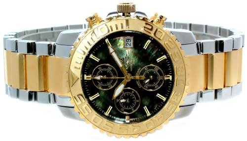 Oskar Emil Bermuda Mens Two Tone Gold Steel Mother of Pearl Chronograph Watch