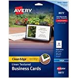 Avery Linen-Textured Two-Side Clean Edge Business Cards for Inkjet Printers, White, Pack of 200 (08873)