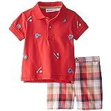Blueberi Boulevard Baby Boys' 2 Piece Baseball Plaid Short Set, Orange/Red, 18 Months