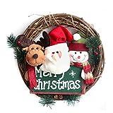 Tovadoo メリー!クリスマス♪ 可愛い 冬新作 クリスマス リース 籐 リング クリスマスオーナメント 手作り インテリア用 部屋 玄関 飾り アクセサリー プレゼント ギフト 贈り物 にも Merry Christmas【直径36cm】 (トナカイ・サンタクロース・スノーマン)