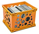 Storex Mini Crate, 9 x 7.75 x 6 Inches, Neon Orange, Case of 3 (STX61582U03C)