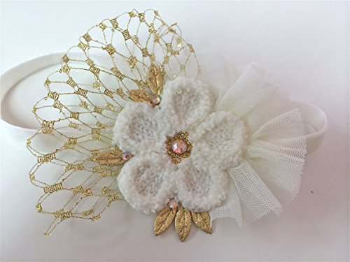 Ivory/Gold Tulle Headband With French Vail (3-6Months) front-698270
