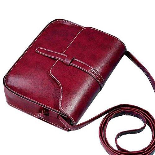 borsa vintage borsa, FEITONG tracolla in pelle tracolla messenger (Rosso)