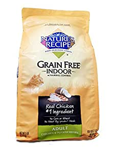 Nature's Recipe Grain-Free Indoor w/hairball control - Chicken & Potato Adult Cat Food, 5 lbs.