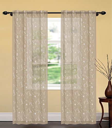 United Linens- 1 piece Embroidery window curtains sophia (52x84) Window treatments for kitchen and drapes for living room and bedroom panels grommet (beige) (Sliding Door Semi Sheer Curtains compare prices)