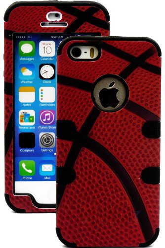 Mylife Black And Basketball Print - Sports Series (Neo Hypergrip Flex Gel) 3 Piece Case For Iphone 5/5S (5G) 5Th Generation Itouch Smartphone By Apple (External 2 Piece Fitted On Hard Rubberized Plates + Internal Soft Silicone Easy Grip Bumper Gel)