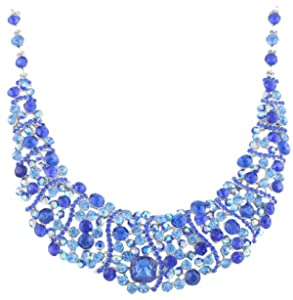 JOTW Ladies Silvertone with Blue Elegant Wavy Design Pendant with a 17 Inch Adjustable Necklace & Matching Stud Dangle Earrings B ...