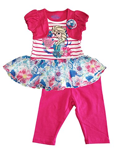 Disney Frozen Elsa Tunic Top and Pink Leggings Little Girls Outfit