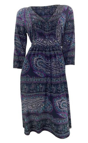 marks-and-spencer-robe-manches-3-4-femme-bleu-bleu-taille-42