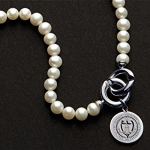 Georgia Tech Pearl Necklace with Sterling Silver Charm