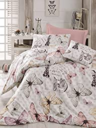 Gold Case - Butterfly Girl - Young Series, High Quality Ranforce Duvet Cover Set - Made in Turkey - Extra Smooth - Butterfly/Spring Themed Duvet Cover Set