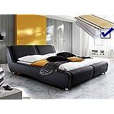 Polsterbett schwarz komplett Bett 180x200 + Matratze + Lattenrost Kunstlederbett Designerbett Noel