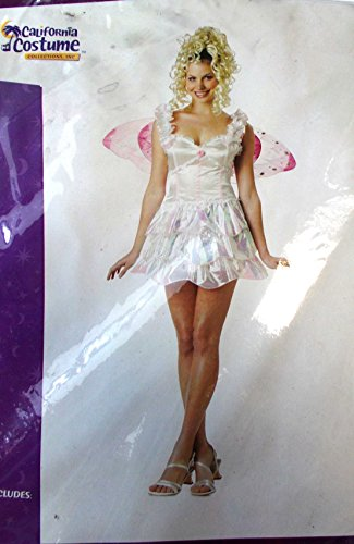 Fairy Pixie White Pink Wings Adult Costume Medium NIP