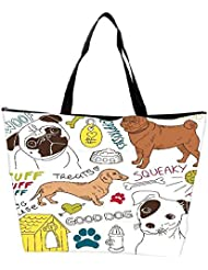 Snoogg I Love Dogs Vector Doodles Set Waterproof Bag Made Of High Strength Nylon