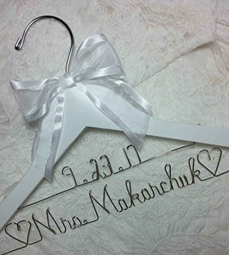 Personalized Bride Dress Hanger With Date - ANY NAME Silver wire - Wedding - White Hanger, Bridal