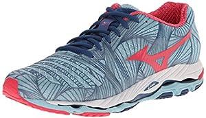 Mizuno Women's Wave Paradox Running Shoe, Porcelain Blue/Rouge Red, 7 B US