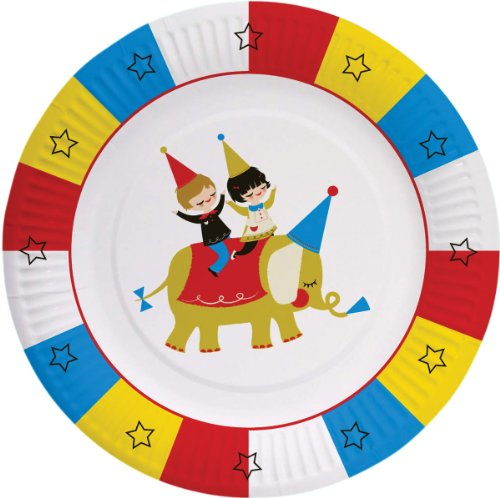 "Party Partners Design Big Top Circus Elephant Themed 8"" Round Paper Plates, Blue/Red, 8 Count"