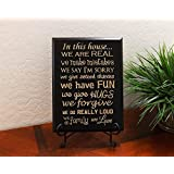 """Timber Creek Design Decorative Carved Wood Sign with Quote """"In this house... we are REAL we make mistakes we say I'm sorry we give second chances we have FUN we give HUGS we forgive we do REALLY LOUD we do family we Love"""" 3D Carved 9""""x12"""" Black - Indoor"""