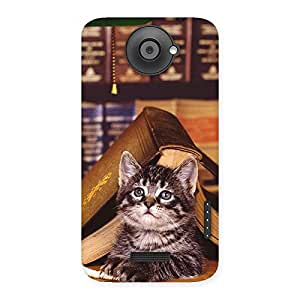 Gorgeous Cat Book Back Case Cover for HTC One X