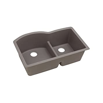 "Elkay ELGHU3322RGR0 Granite 33"" x 22"" x 10"" Double Bowl Undermount Kitchen Sink, Greige"